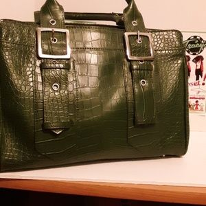 Green faux alligator purse